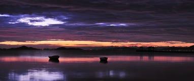 Laguna alla crepa dell'alba Fotografia Stock