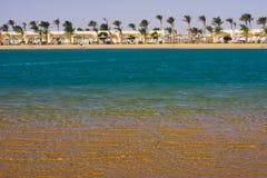 Laguna, arena y palmas Imágenes de archivo libres de regalías