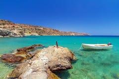 Laguna azul de la playa de Vai en Creta Imágenes de archivo libres de regalías