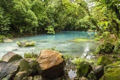 Laguna azul en Rio Celeste Imagenes de archivo