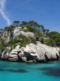 Laguna azul Menorca España Imágenes de archivo libres de regalías