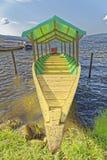 Sauce, san martin, peru: Laguna azul tourist boat. A jungle boat in the sun with a blue sky in the background at laguna azul, sauce, laguna azul, tarapoto, san royalty free stock image