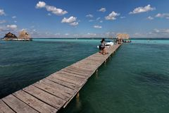Laguna Bacalar - wodni sporty 7 obraz royalty free