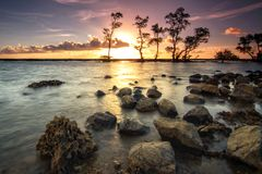 Laguna beach, Anyer. Sunset moment at laguna beach, located at anyer, banten, west java. Indonesia royalty free stock image
