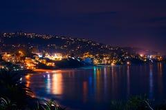 Laguna Beach bij Nacht Stock Afbeelding