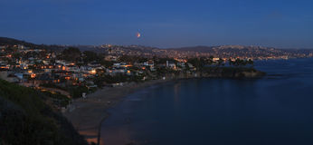 Laguna Beach, California Crescent Bay view of the blood moon. Royalty Free Stock Photos