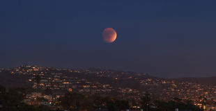 Laguna Beach, California Crescent Bay view of the blood moon. Royalty Free Stock Image