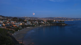 Laguna Beach, California Crescent Bay view of the blood moon. Stock Images