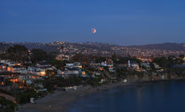 Laguna Beach, California Crescent Bay view of the blood moon. Stock Image