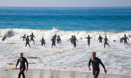 Laguna Beach California Life Guards in Training Royalty Free Stock Photos