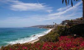 Laguna Beach coastal view. From Laguna Beach up to the Los Angeles coast a beautiful view on a perfect Orange County coastal day Stock Photography