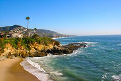 Laguna Beach Coastline. Wave crashing in Laguna Beach, California Stock Image