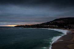 Laguna beach at dusk. Scenic view of Laguna beach at dusk, Orange County, California, U.S.A Stock Photos