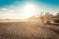 Laguna Beach lifeguard in sunset Royalty Free Stock Photos