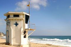 Laguna Beach Lifeguard Tower. Laguan Beach lifeguard tower witht the ocean in the background Stock Images