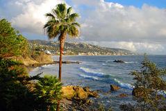 Laguna Beach, linea costiera di California dalla sosta di Heisler durante i periodi invernali Immagini Stock Libere da Diritti