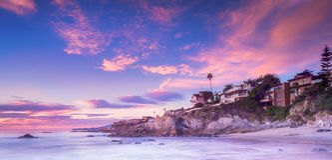 Laguna Beach på solnedgången Royaltyfri Fotografi