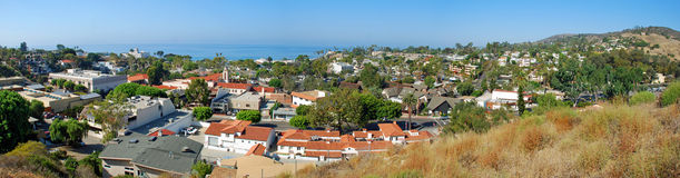 Laguna Beach Panorama. Panorama of the center of Laguna Beach, California  taken from the hills surrounding this beautiful hamlet. View looks west with the Stock Images