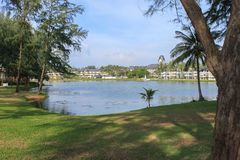 Laguna Beach Resort,PHUKET, THAILAND - NOV, 06, 2013: Luxury villa with lagoon lake and palm around Royalty Free Stock Image
