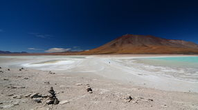 Laguna Blanca and Laguna Verde. Eduardo Avaroa Andean Fauna National Reserve. Bolivia. Laguna Blanca and Laguna Verde are salt lake in an endorheic basin, in the Stock Photo