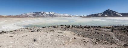 Laguna Blanca White lagun och Licancabur vulkan, Bolivia Royaltyfria Bilder