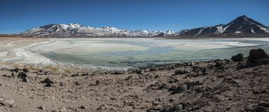Laguna Blanca White lagun och Licancabur vulkan, Bolivia Arkivfoto