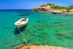 Laguna blu della spiaggia di Vai su Crete Fotografia Stock