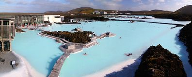 Laguna blu panoramica fotografie stock