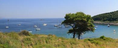 Laguna blu, paradiso dell'isola Mare adriatico del Croatia Panorama Fotografia Stock Libera da Diritti