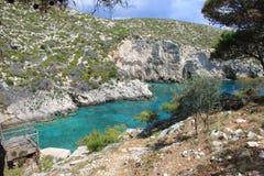 Laguna blu in Zacinto Immagine Stock