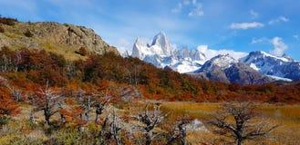 Laguna Capri en zet Fitz Roy met de herfstkleuren op, Argentinië royalty-vrije stock foto