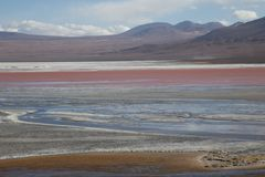 Laguna Colorada in Bolivia. Laguna Colorada, Bollivia - November 02, 2015: View over the colorful Laguna colorada in the Andes region Stock Image