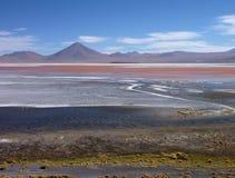 Laguna colorada in bolivian altiplano with flamingos Stock Photo
