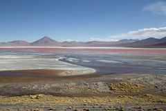 Laguna Colorada in Bolivia. Laguna Colorada, Bollivia - November 02, 2015: View over the colorful Laguna colorada in the Andes region Stock Photo