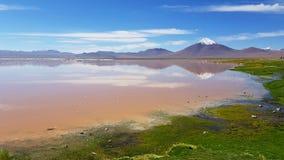 Laguna Colorada een gekleurd ondiep zout meer in het zuidwesten van altiplano van Bolivië royalty-vrije stock afbeelding