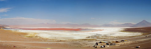 Laguna Colorada in Salar de Uyuni, Bolivia. A panoramic view of the red Laguna Colorada in the salar de uyuni desert, Bolivia stock photo