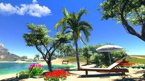 Laguna con il salotto e l'ombrello Fotografie Stock