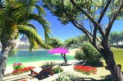 Laguna con il salotto e l'ombrello Fotografie Stock Libere da Diritti