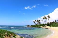 Laguna in cui i pescatori locali pescano il pesce, Sri Lanka Fotografia Stock