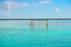 Laguna de Bacalar Lagoon in Mayan Mexico. At Quintana roo royalty free stock image
