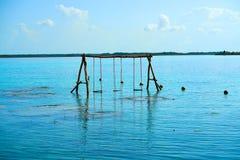 Laguna de Bacalar Lagoon in Mayan Mexico. At Quintana roo royalty free stock photos