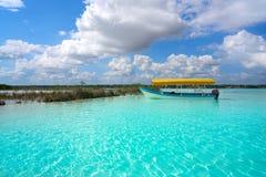 Laguna de Bacalar Lagoon in Mayan Mexico. At Quintana roo stock photo