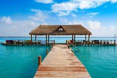 Laguna de Bacalar Lagoon in Mayan Mexico. Laguna de Bacalar Lagoon pier in Mayan Mexico at Quintana roo royalty free stock photos