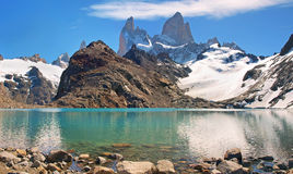 Laguna de Los Tres with Mt Fitz Roy. Beautiful Laguna de Los Tres with Mt Fitz Roy in the background as seen in Patagonia, Argentina royalty free stock images