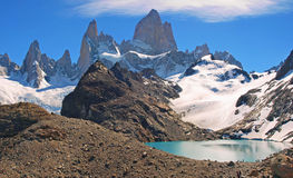 Laguna de Los Tres with Mt Fitz Roy. Beautiful Laguna de Los Tres with Mt Fitz Roy in the background as seen in Patagonia, Argentina stock photography