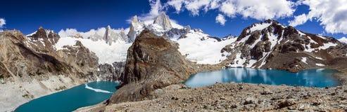 Laguna de Los Tres y Laguna Sucia, la Argentina Foto de archivo