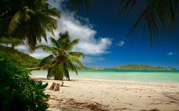 Laguna de Seychelles con la arena y el mar limpios Imagen de archivo libre de regalías