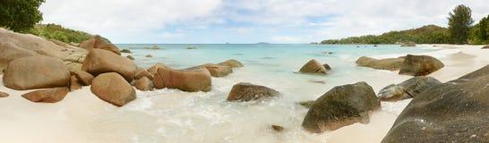 Laguna de Seychelles del panorama del paisaje Foto de archivo