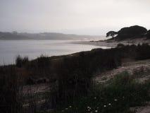 Laguna di Lagoa de Albufeira Albufeira, una riserva naturale in Costa da Caparica, Portogallo fotografia stock libera da diritti