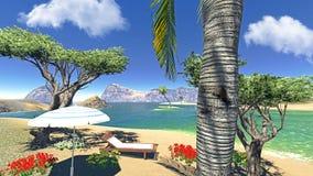 Laguna di paradiso con il salotto e l'ombrello Fotografia Stock